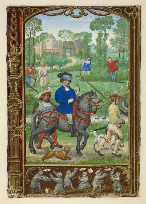 Calendar page for July with a miniature of a nobleman going hawking, with haymakers behind him, from the Golf Book (Book of Hours, Use of Rome), workshop of Simon Bening, Netherlands (Bruges), c. 1540, Brtish Library Additional MS 24098, f. 24v - See more at: