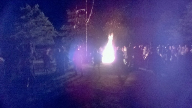 This may be some actual Tudors round their Midsummer bonfire taken via time machine. Or it may show a recreated Tudor Midsummer celebration at the Kentwell Hall historical re-creation of Tudor life.