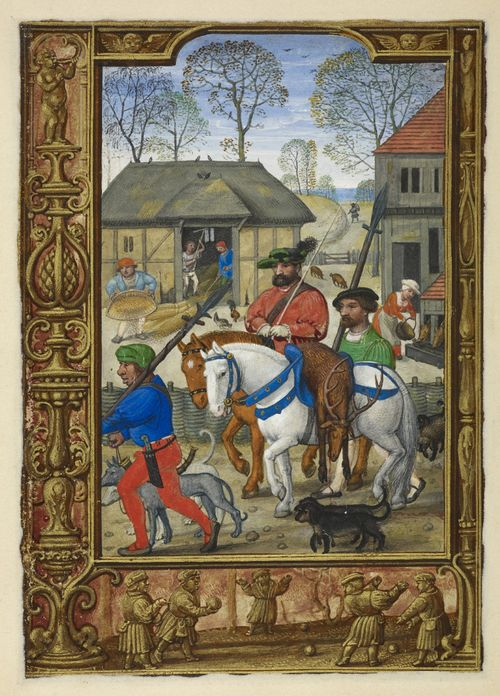 Calendar page for November with a miniature of a nobleman returning from a hunt, from the Golf Book (Book of Hours, Use of Rome), workshop of Simon Bening, Netherlands (Bruges), Additional MS 24098, f. 28v. Note the force-fed pigs.
